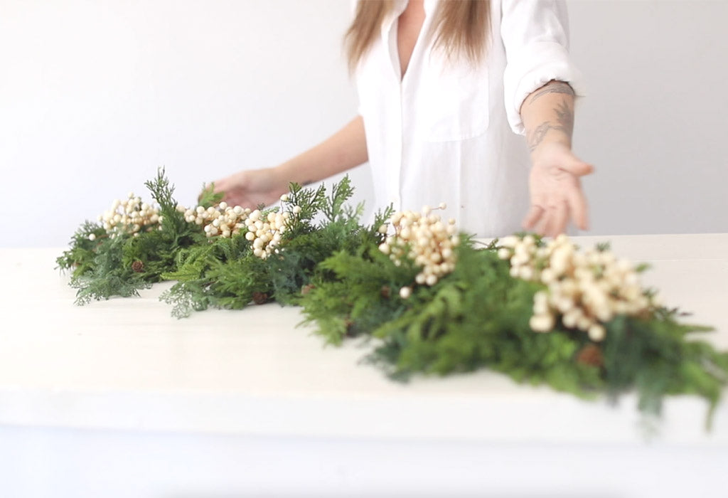 Norfolk Pine Garland with Ivory Berries