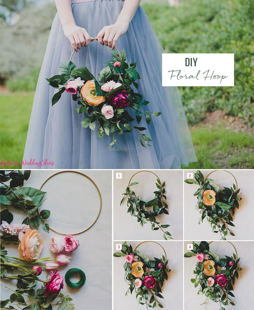Diy silk flower hoop bouquet afloral silk flowers preserved flower heads artificial greenery gold hoop floral wire hot glue gun hot glue izmirmasajfo Images