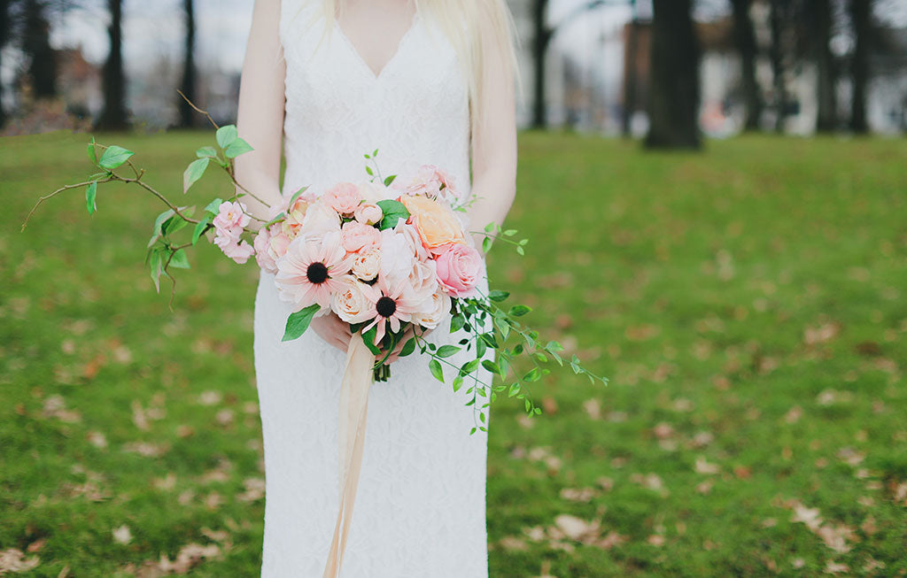 Peach Pink Spring Wedding Bouquet