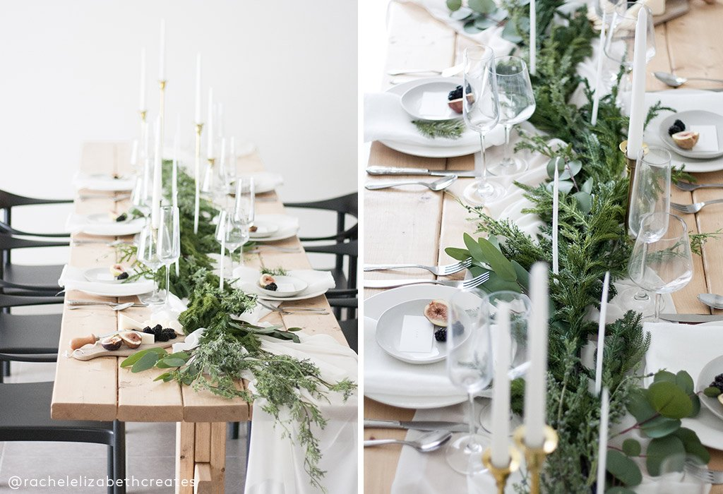 holiday tablescape, artificial greenery, artificial eucalyptus, artificial pine