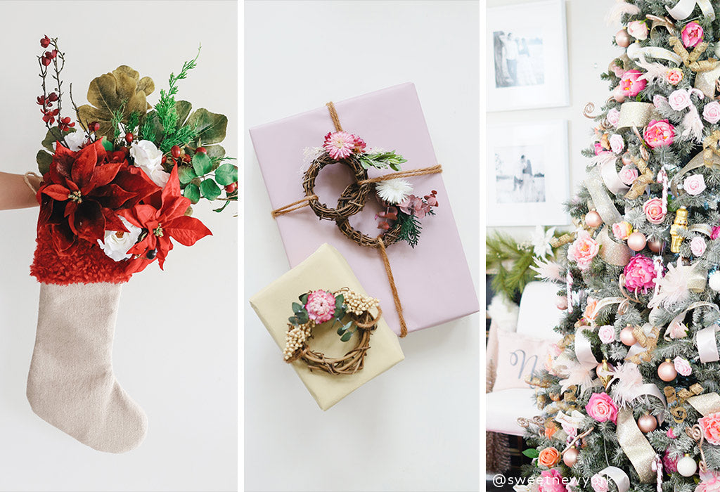 Floral stocking, dried flower gift wrapping, silk flowers in Christmas tree