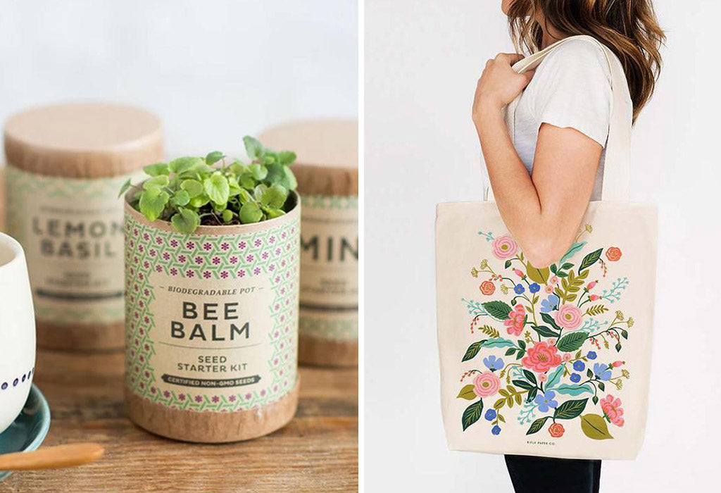 floral inspired gift, tea seed starter kit, Rifle & Co floral tote