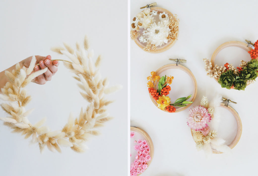 bunny tail wall hanging, dried flower wreath, dried flower wall hanging