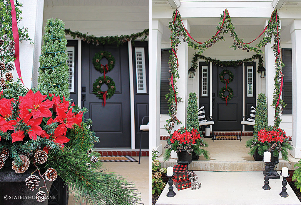 artificial poinsettia, holiday decorating 2019, front door decorating holiday