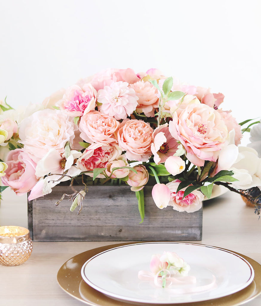 Pink Peach Artificial Flower Centerpiece