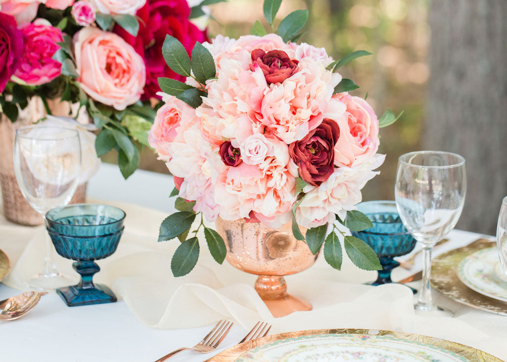 Get The Look: Pink Silk Flower Arrangement for Wedding Centerpieces