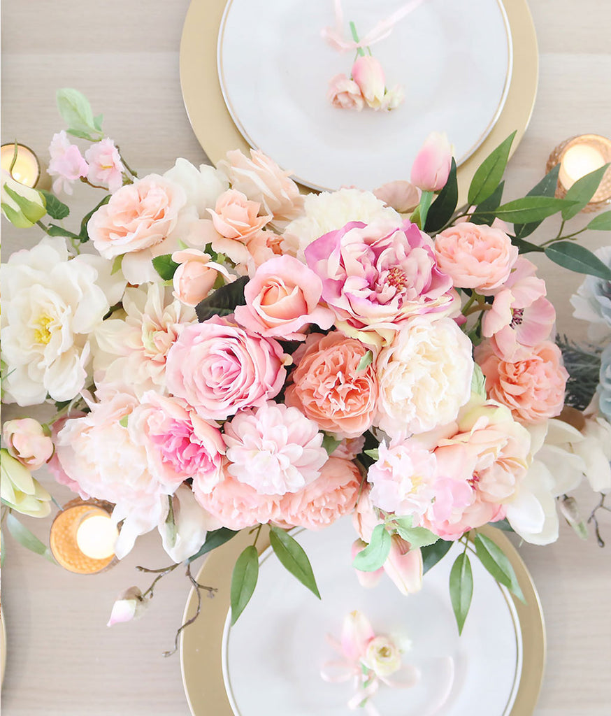Artificial Flower Wedding Centerpieces: Get The Look: Pink Peach Artificial Flower Centerpiece