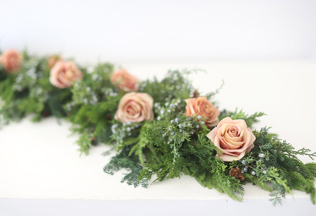 Norfolk Pine Garland with Mauve Roses and Juniper