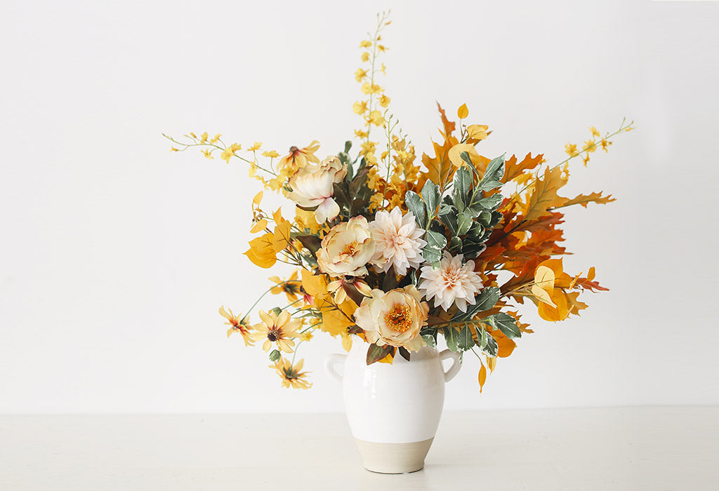 Tall Fall Floral Arrangement with Fake Fall Leaves