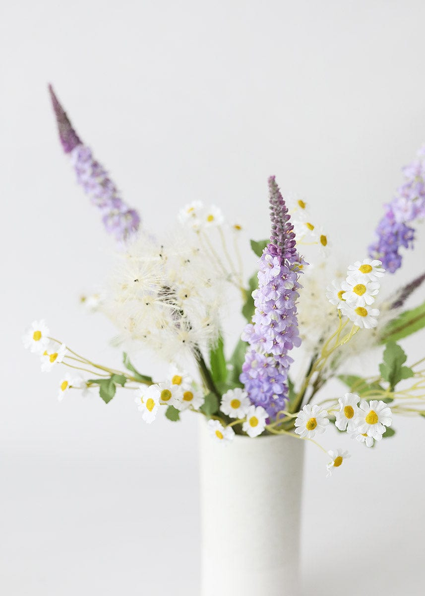 Artificial Flower Arrangement with Purple Veronica and Wild Daisies