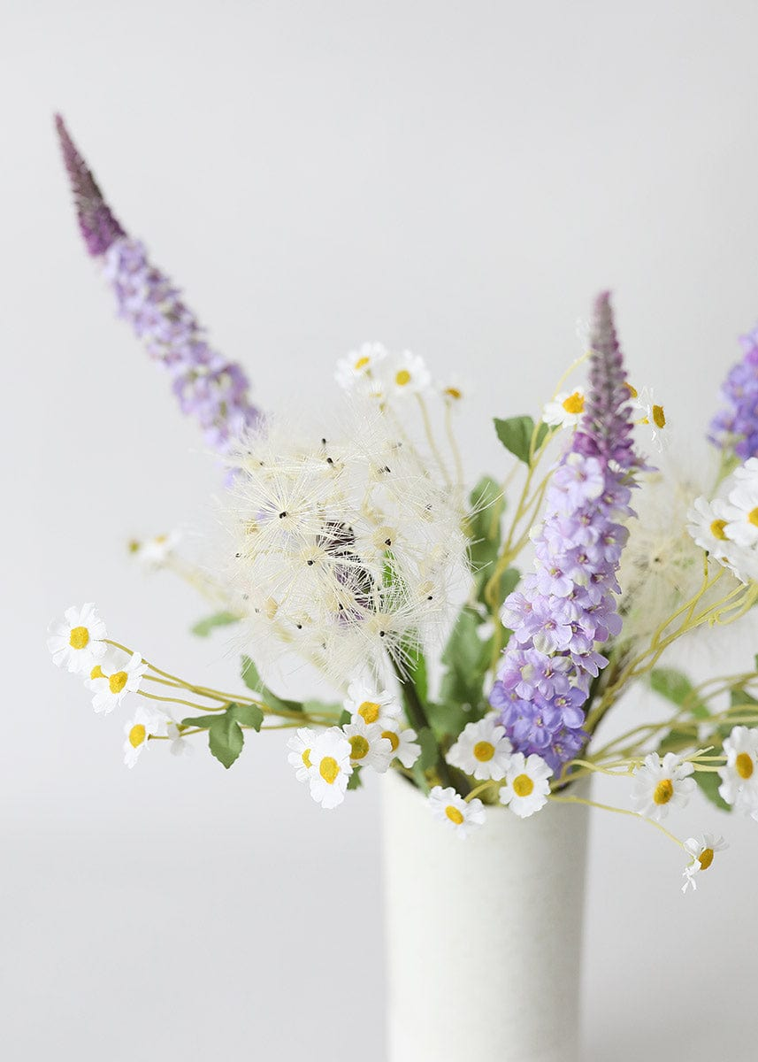 Artificial Flower Arrangement with Purple Veronica, Dandelion, and Wild Daisies