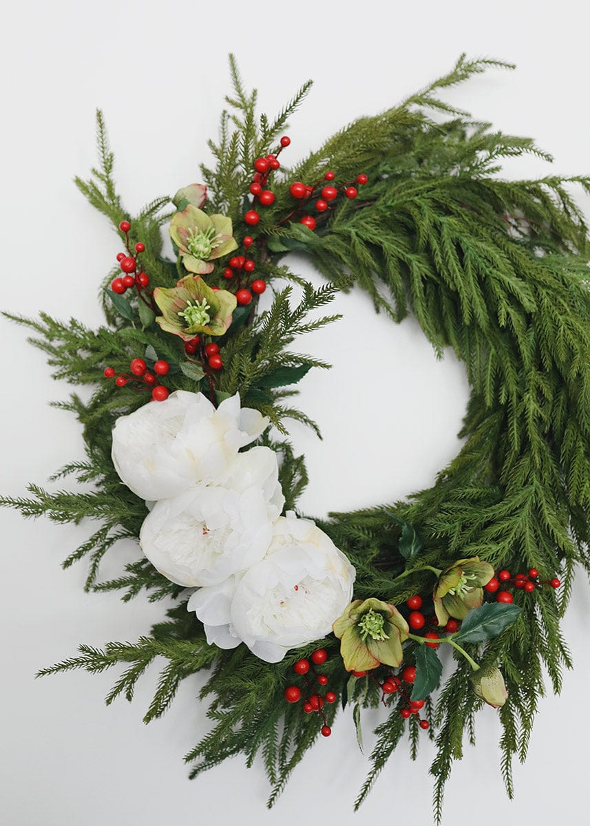 Norfolk Wreath with Faux Flowers