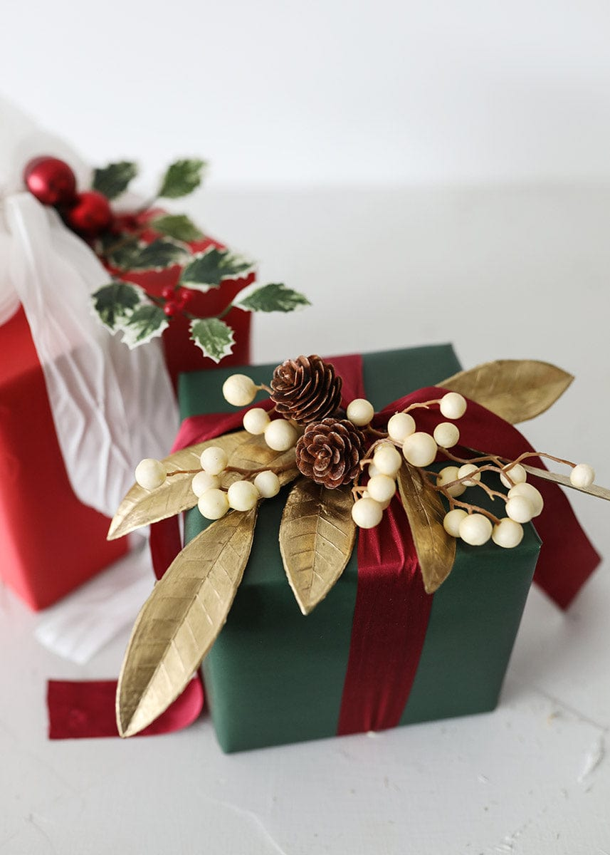 Holiday Gift Wrapping with Faux Bay Leaves