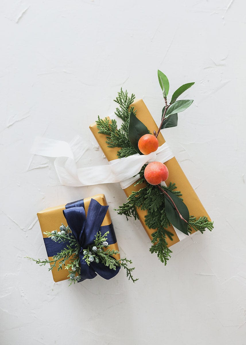 Presents Wrap with Artificial Greenery and PIne