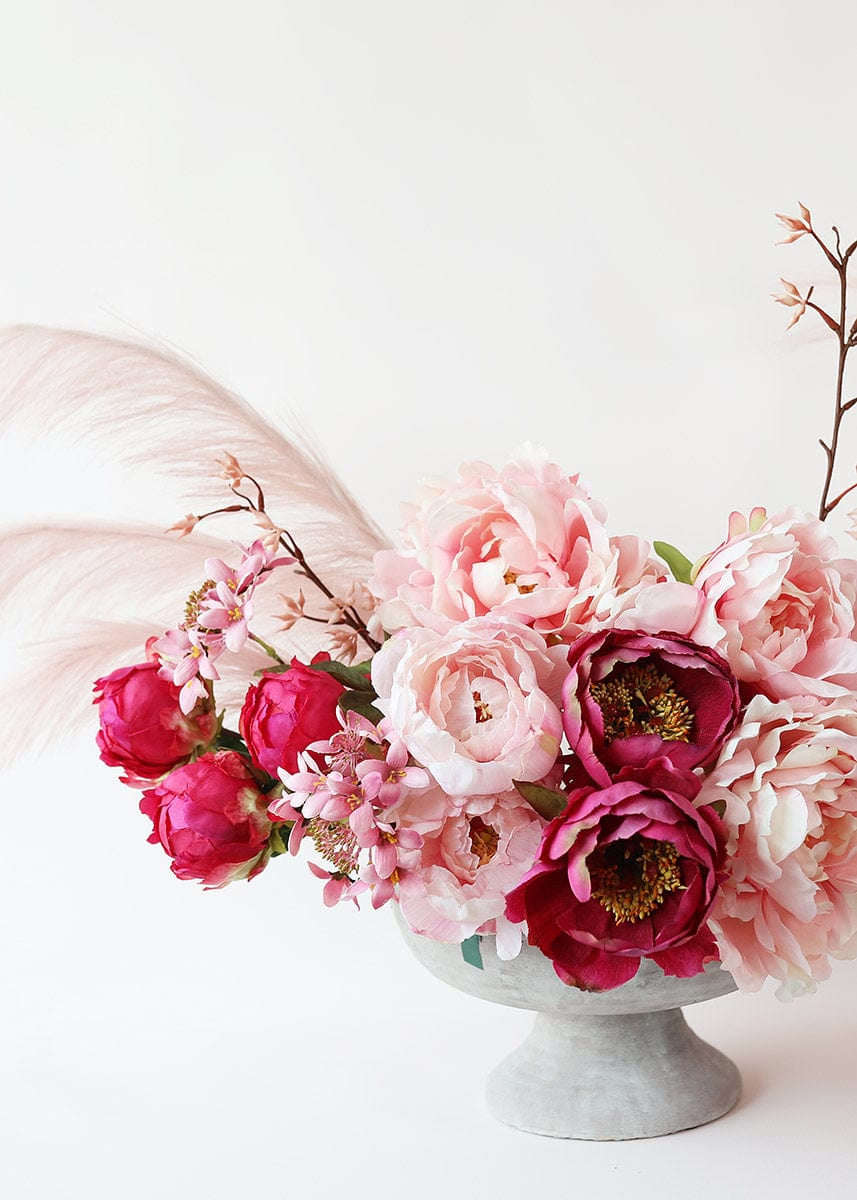 Pink Fake Flower Centerpiece with Pink Peonies
