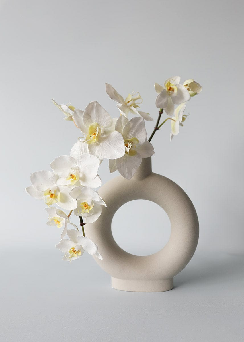White Orchid in Grey Circle Vase