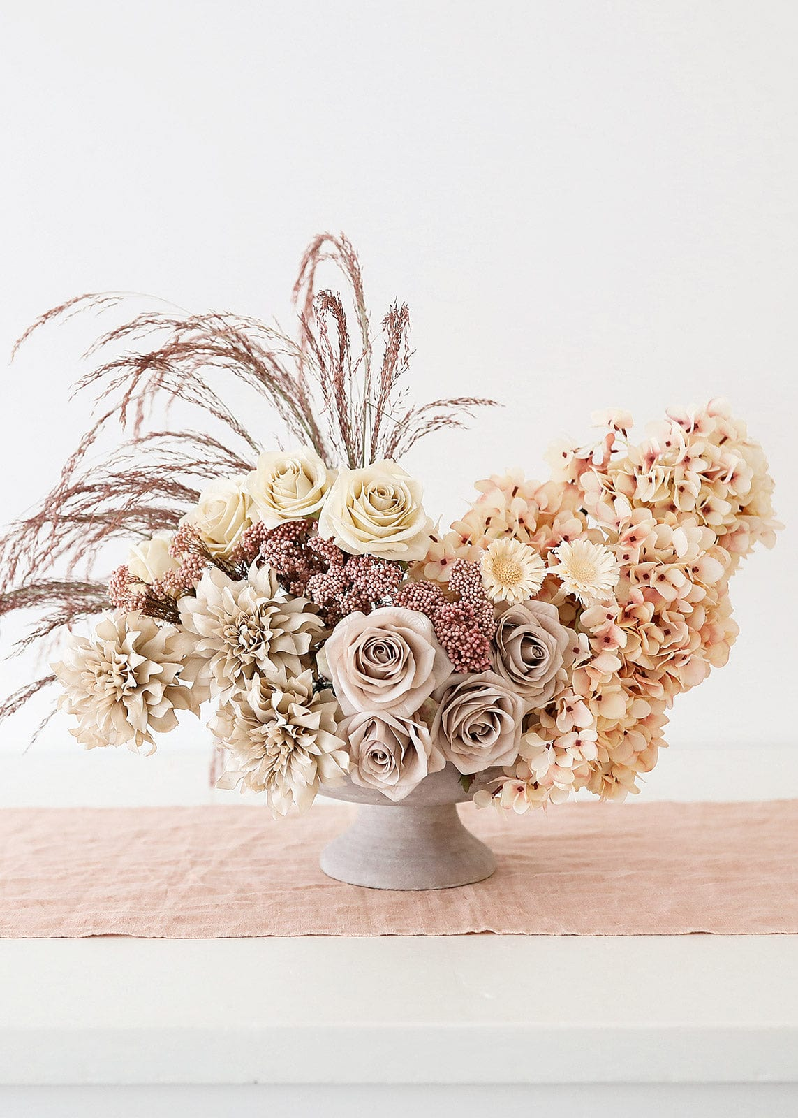 Blush and Beige Flower Arrangement of Silk and Dried Flowers