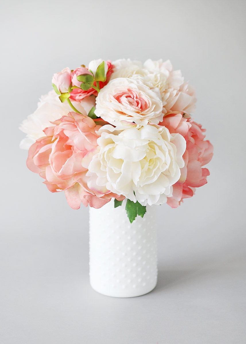 White Glass Hobnail Vase with Coral Flowers