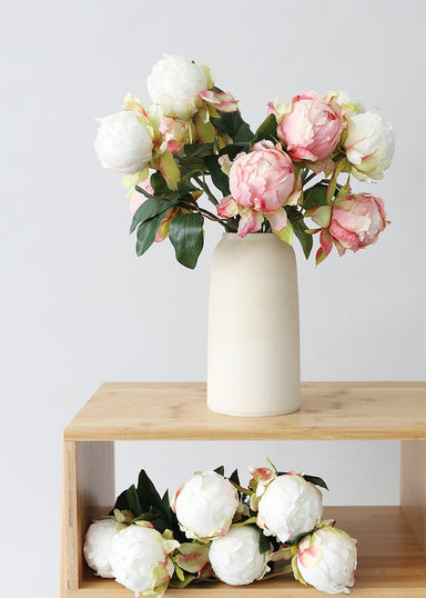 Faux Flowers Peony Buds in Vase