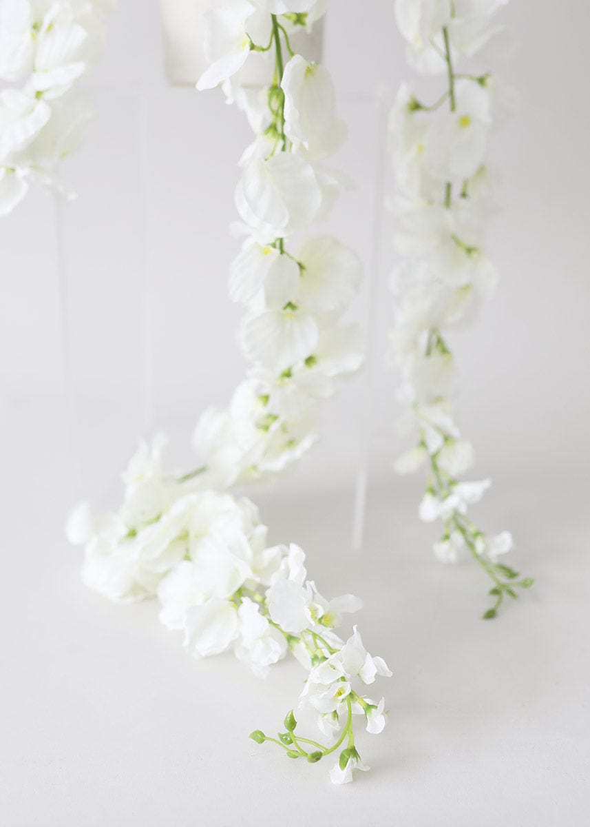 White Faux Wisteria Flowers