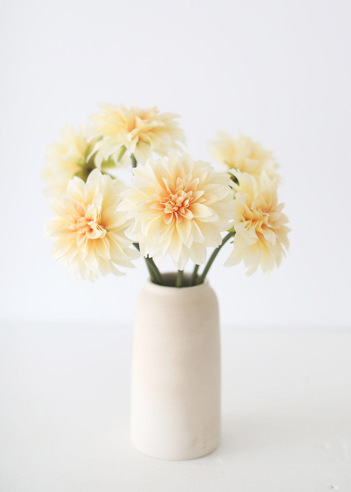 Silk Dahlia Peach Flowers in Stoneware Vase