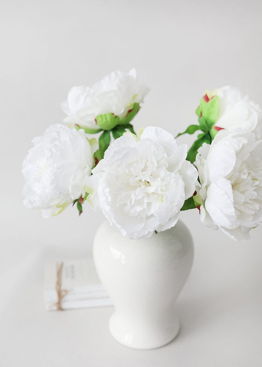 White Real Touch Peonies in Ginger Jar
