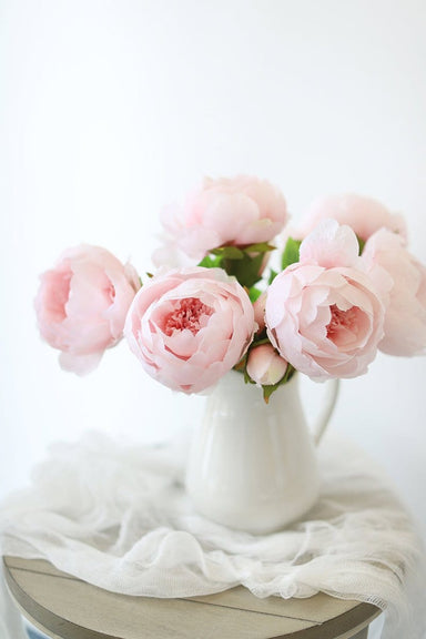 Pink Peonies in White Pitcher