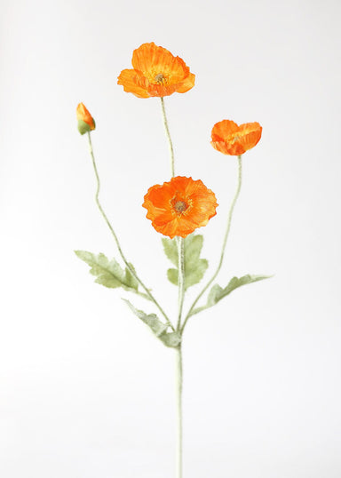 Artificial Poppy Flower Spray in Orange
