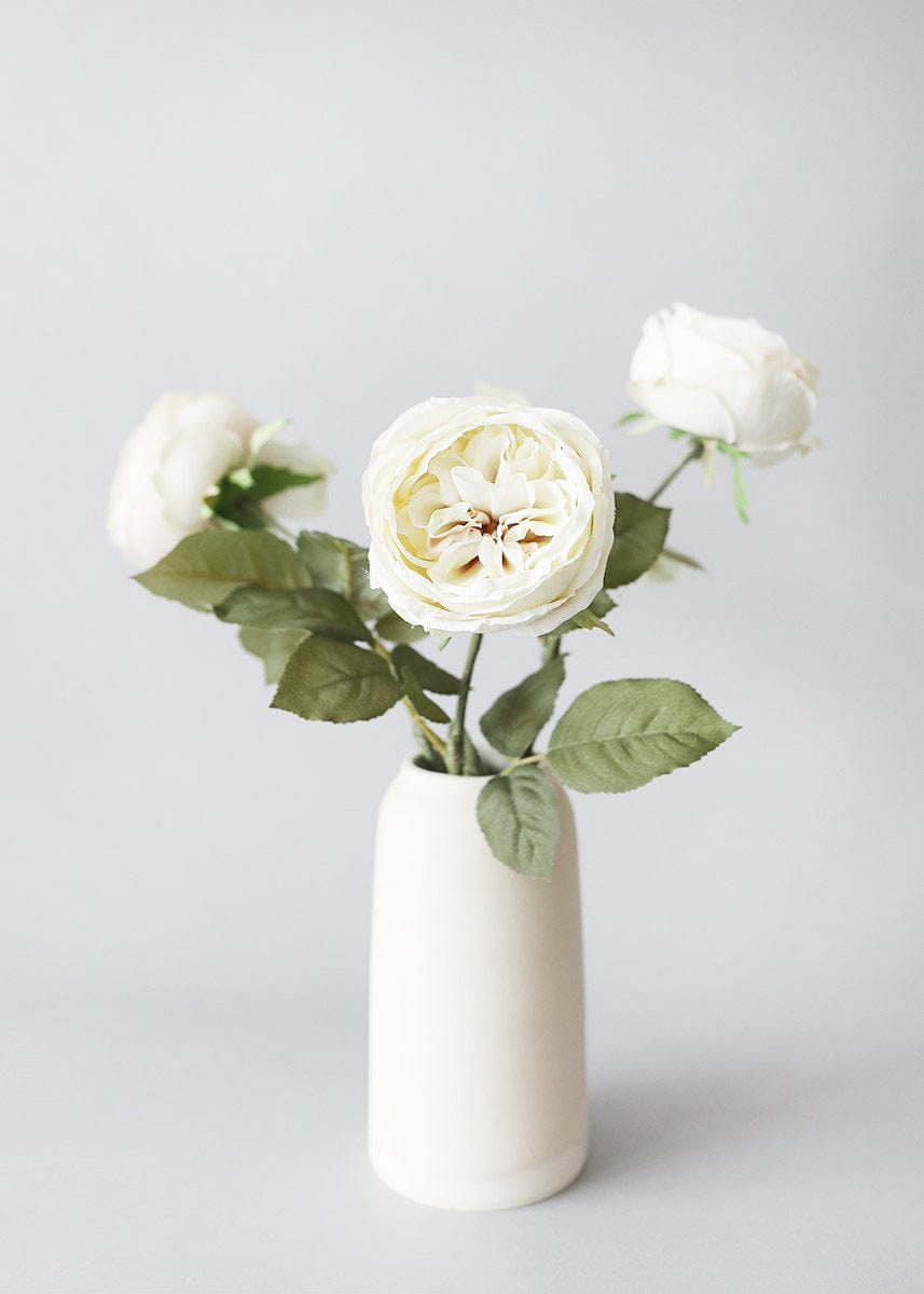 Open Silk Roses Eggshell Flowers