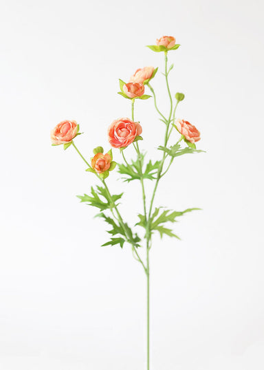 Silk Mini Ranunculus Spray in Coral Peach