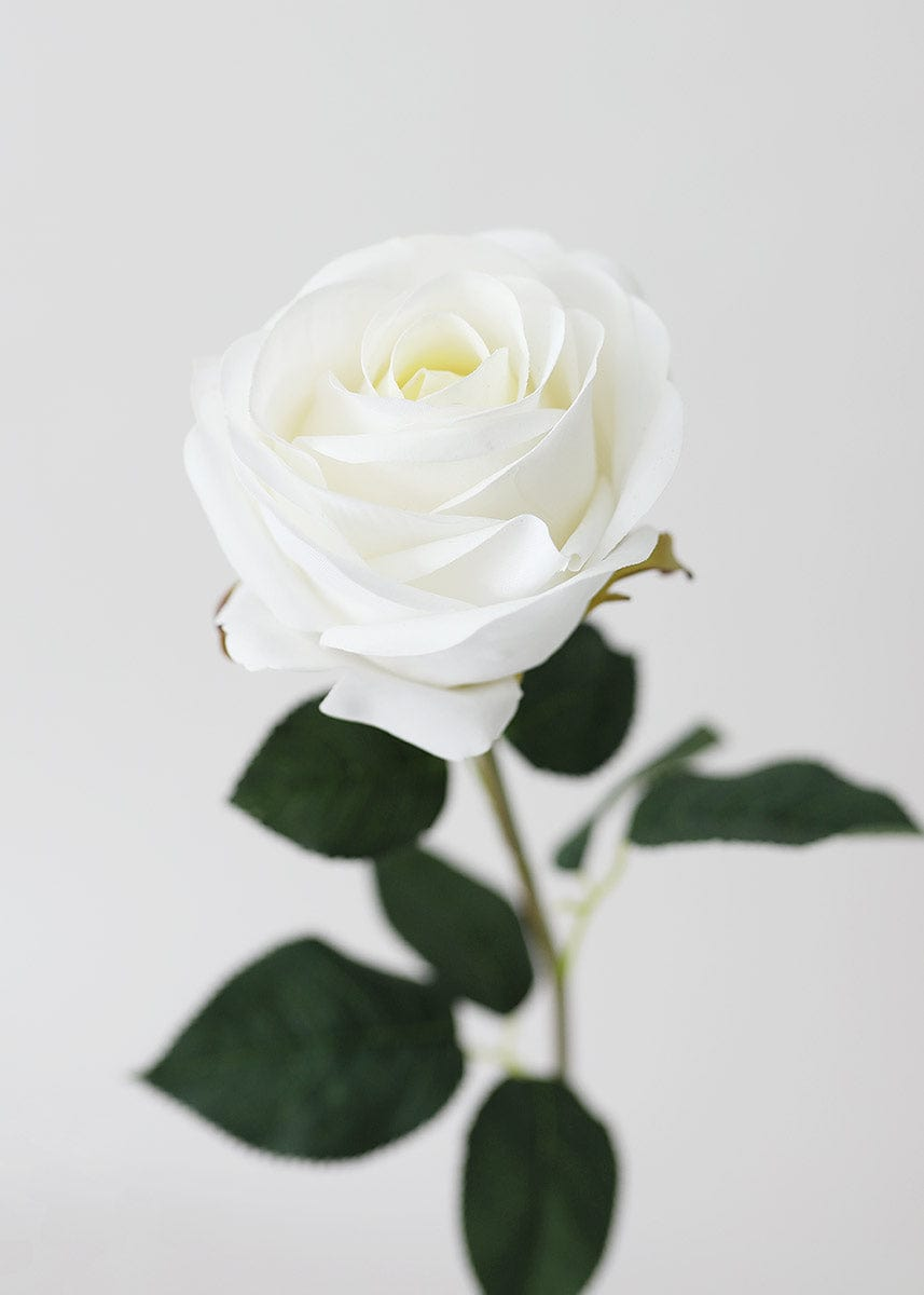 Real Touch Flowers Rose Stem in White