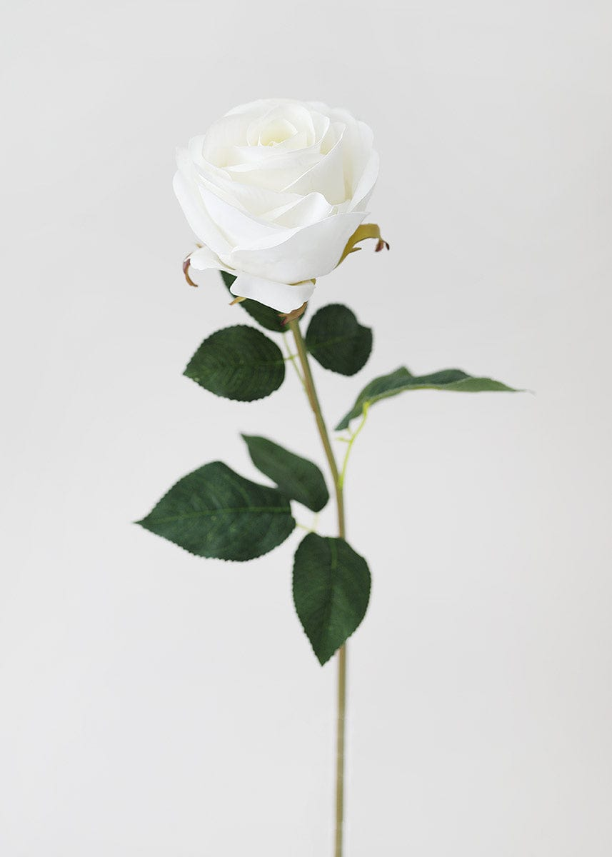 Faux Rose Flower in White