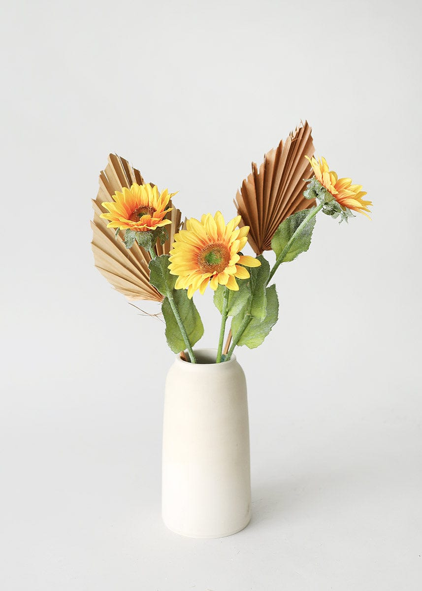Fake Sunflowers and Dried Palm Spears in Vase
