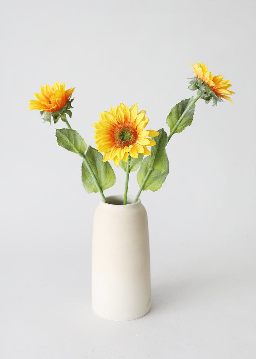Yellow Artificial Sunflowers in Stoneware Vase