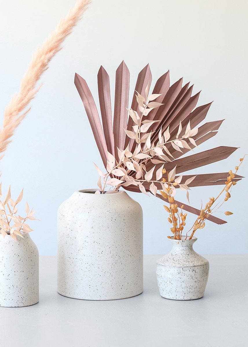 Pink Dried Florals in Speckled Vases