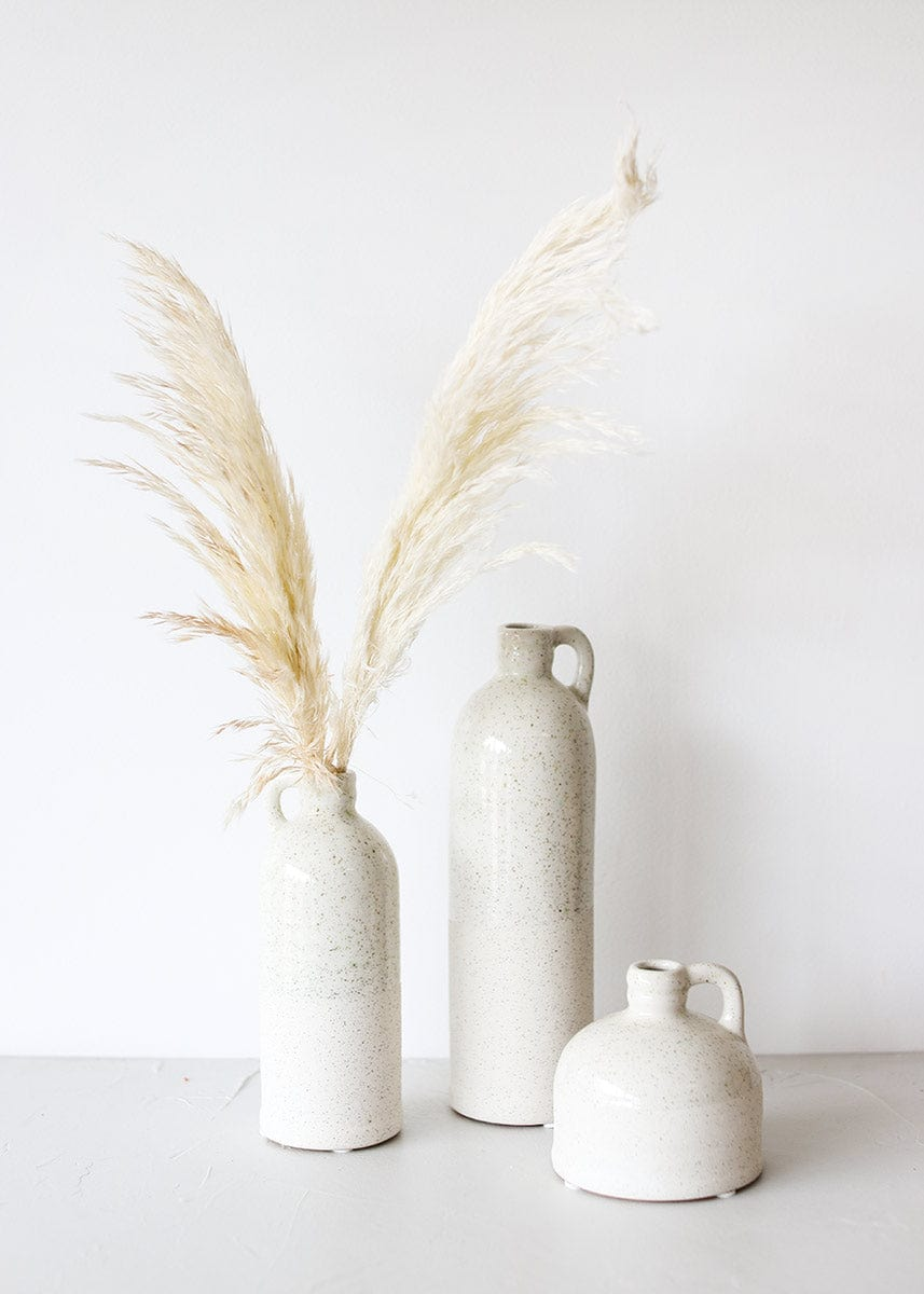 Set of 3 Stoneware Vase with Pampas Grass