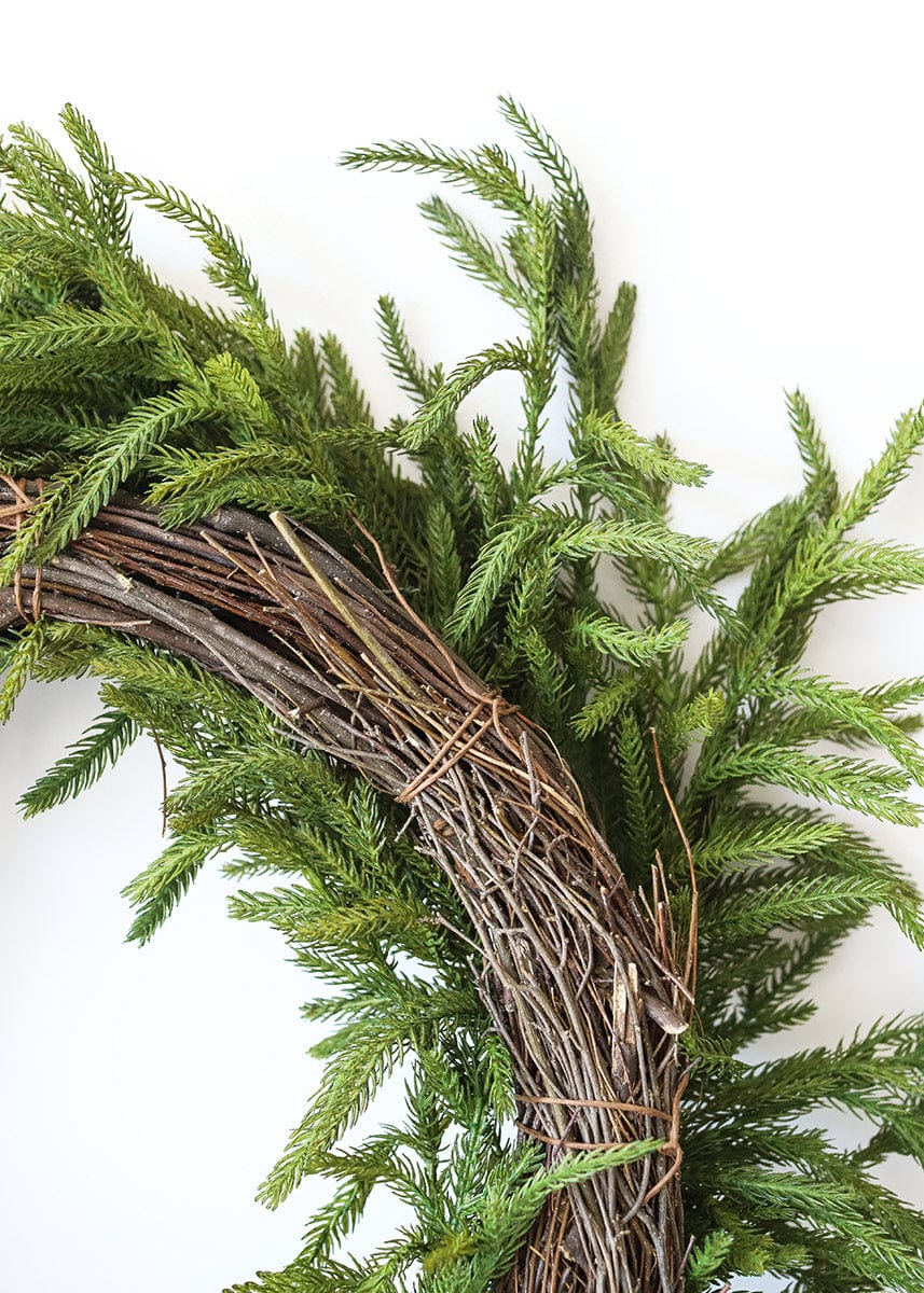 SALE -  Real Touch Norfolk Pine Wreath - 24