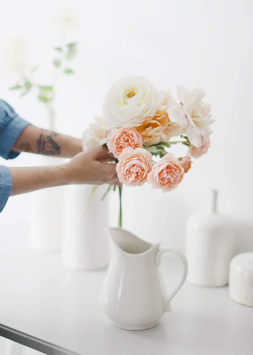 Fake Flower Arrangement with Peach Pink Silk Ranunculus