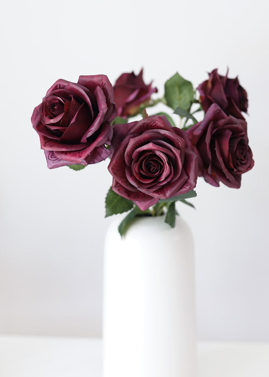 Eggplant Roses Faux Flowers