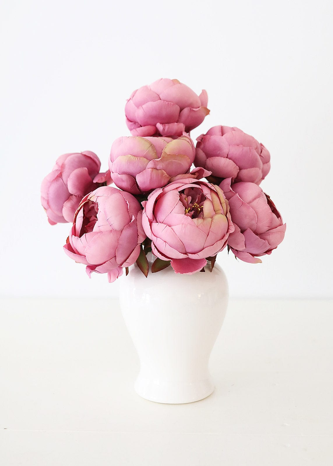 Mauve Artificial Peonies in White Ginger Jar