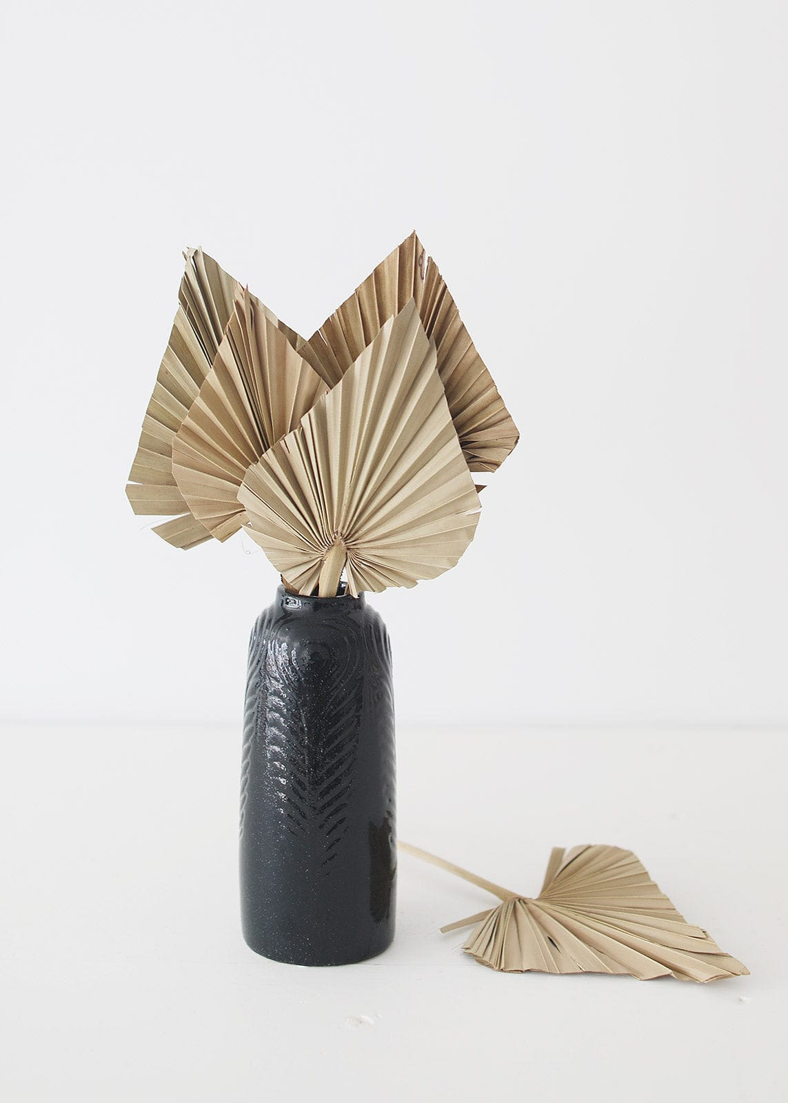 Dried Palm Spears Simple Styled in Black Vase
