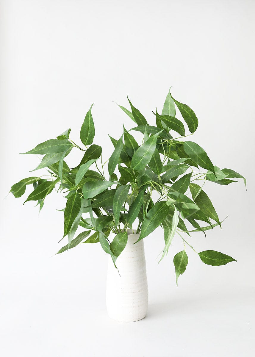 Artificial Eucalyptus Leaves in White Vase
