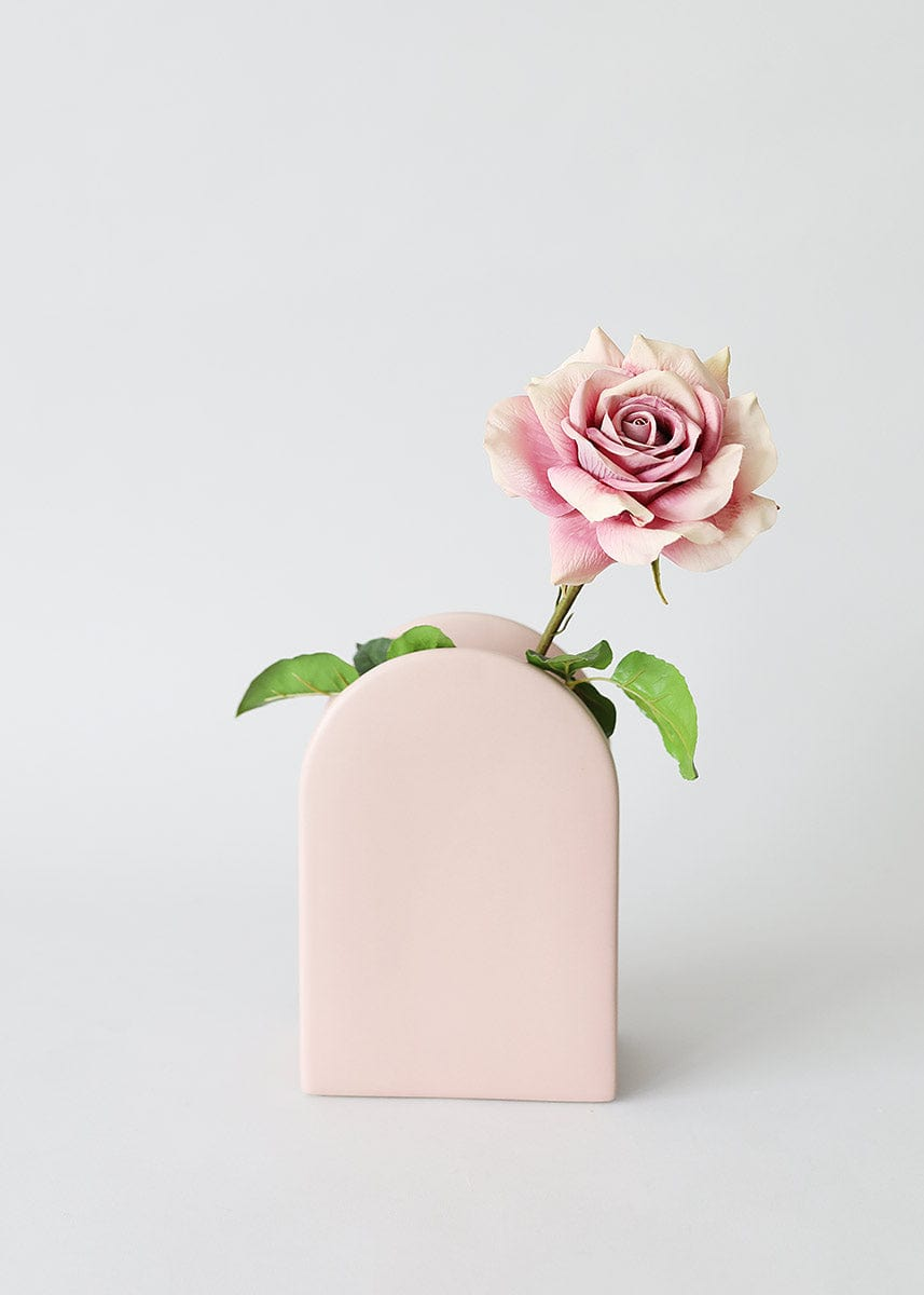 Modern Style Pink Flower Vase with Rose