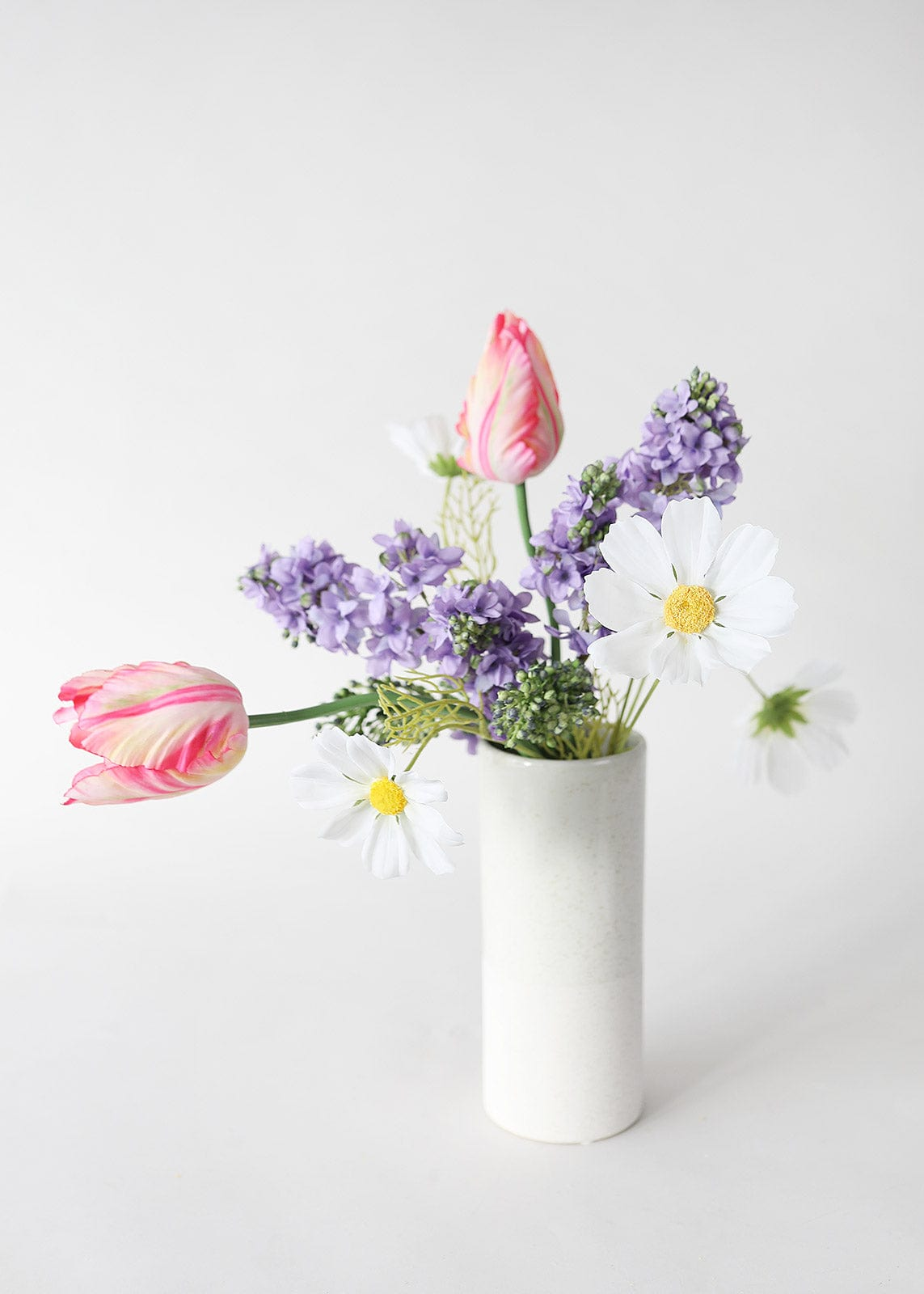 Pink Tulips and Lavender Lilacs Arrangement