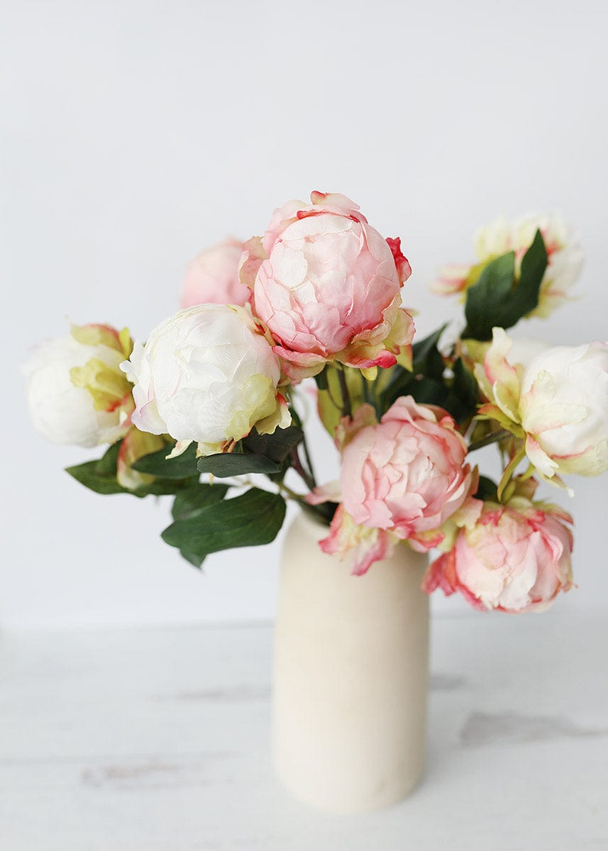 Cream and Pink Peonies in Stoneware Vase