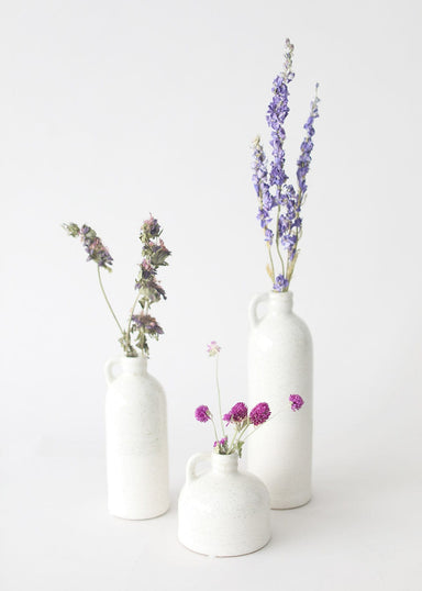 White Handled Vase Set with Purple Dried Flowers