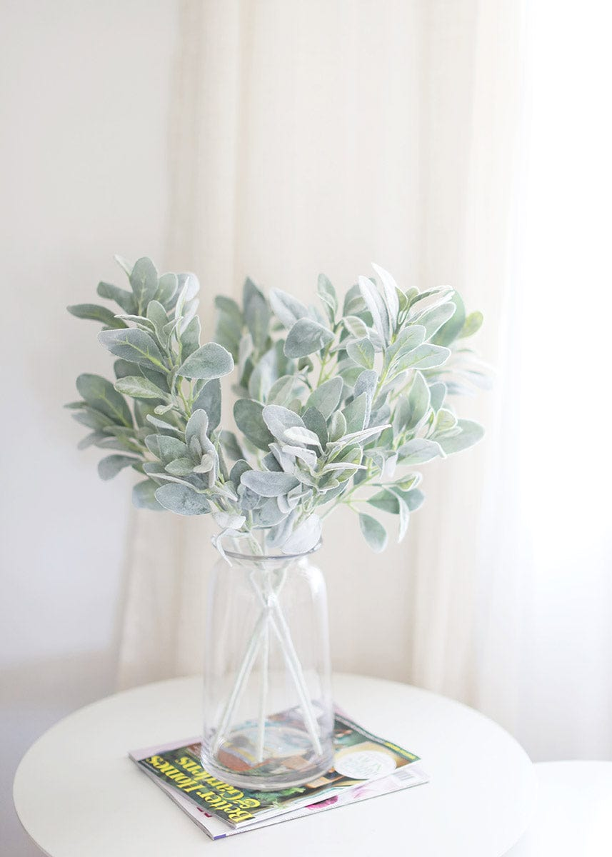 Home Styling with Faux Greenery Lambs Ear