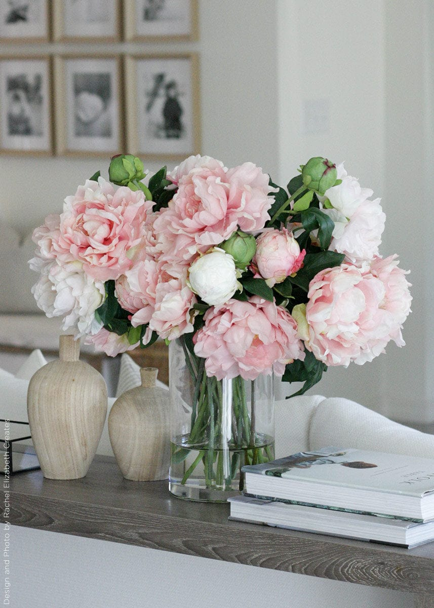 Home Decor Vase Arrangements with Pink Faux Peony Flowers