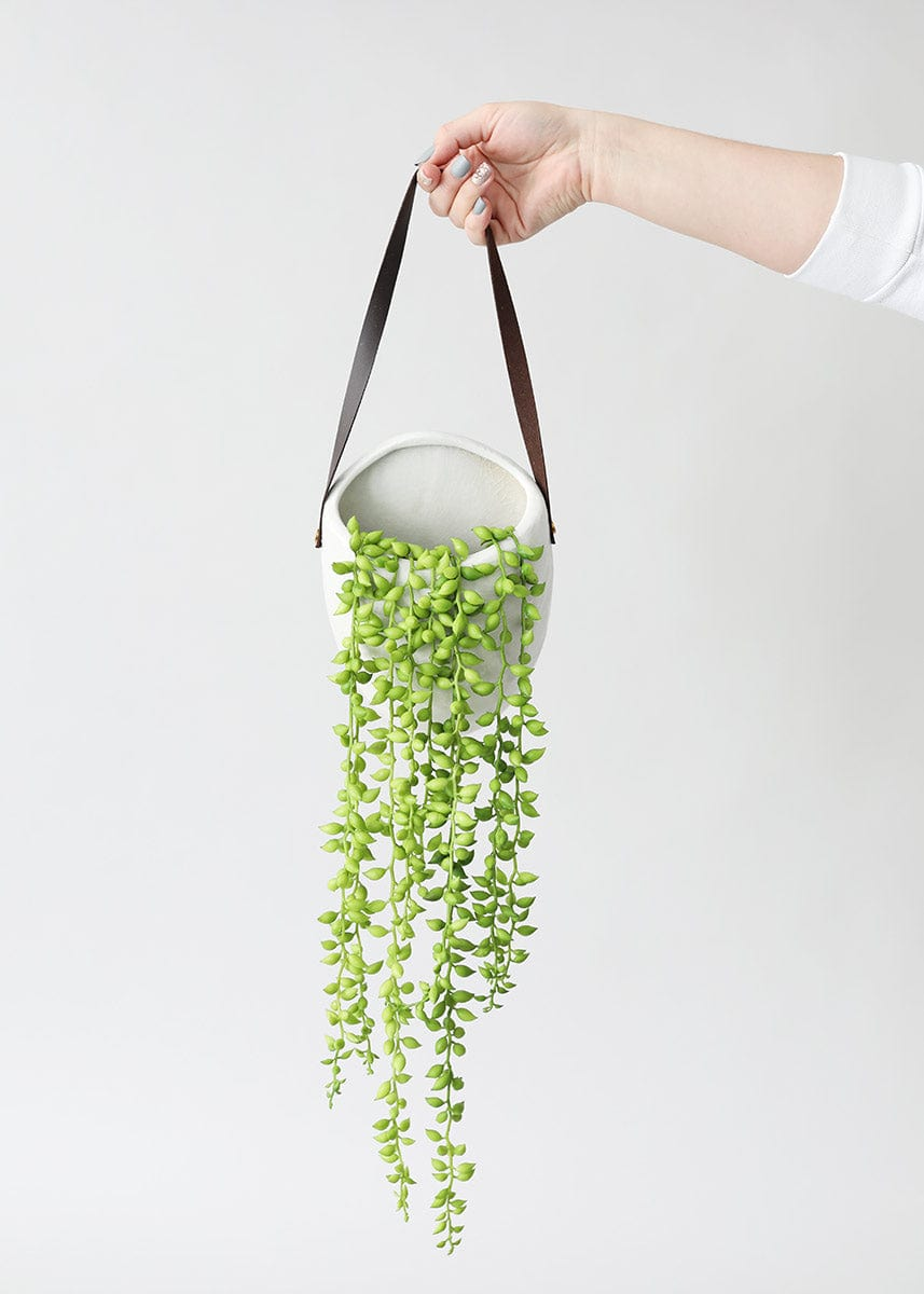Artificial String of Pearls Plants in White Wall Planter