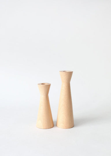 Natural Wooden Taper Candle Holders